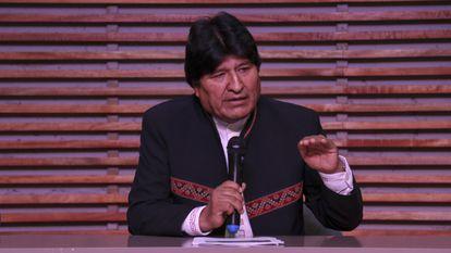 El expresidente de Bolivia Evo Morales habla en una conferencia en Buenos Aires el pasado febrero.