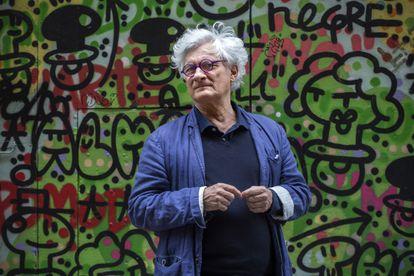 The philosopher Franco 'Bifo' Beradi, in a street in the El Raval neighborhood of Barcelona on May 22, 2021.
