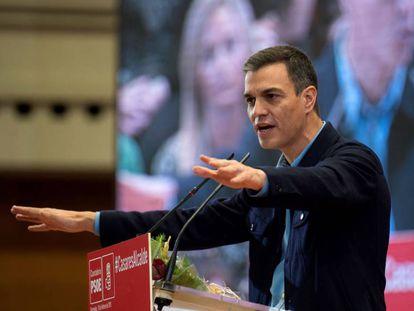 Pedro Sánchez, en un mitin del PSOE.