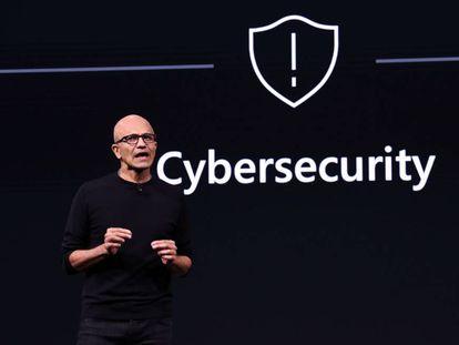 Satya Nadella, consejero delegado de Microsoft, en un acto previo al Mobile World Congress de Barcelona.