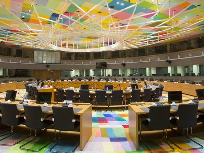 Interior del Edificio Europa, centro de operaciones del Consejo Europeo.