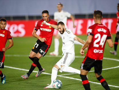 Karim Benzema, contra el Mallorca en el Alfredo di Stéfano.