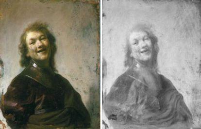 'Rembrandt riendo' (1628), tras su limpieza, y a la derecha, radiografiada por emisión de electrones.