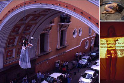 Imagen del vídeo sobre la<i> performance Lo voy a gritar al viento (1999). </i>A la derecha, arriba, imagen de la performance Caparazón (2010). Debajo, imagen del la <i>performance El dolor en un pañuelo (1999), </i>de Regina José Galindo.