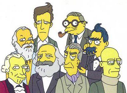 De izquierda a derecha y en primer plano, Kant, Marx, Roland Barthes y Michel Foucault; detrás, Platón, Ludwig Wittgenstein, Jean Paul Sartre y Friedrich Nietzsche. La ilustración es una interpretación del olimpo de la filosofía en clave simpsoniana del dibujante Felix Petruska.