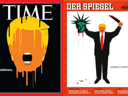 Dos de las portadas con las que el ilustrardor Edel Rodríguez se ha granjeado el odio de los seguidores de Donald Trump. A la izquierda, la dela revista 'Time', reconocida como mejor portada del año (agosto de 2016); a la derecha, la del semanario alemán 'Der Spiegel' que dio la vuelta al mundo (enero de 2017). |