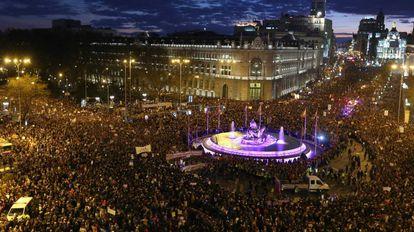 Manifestacion del pasado 8 de marzo. En la imagen, la fuente de la Cibeles, en el centro de Madrid.
