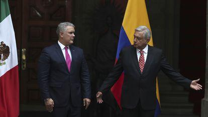 López Obrador recibe a Duque, en el Palacio Nacional de México.