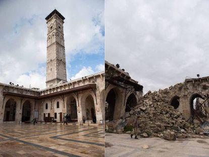 A la izquierda, la estructura de la Mezquita Omeya hace cuatro años. A la derecha, en la actualidad (ver galería pinchando sobre la foto).