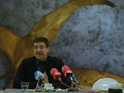 Patxi Lazcoz, durante su conferencia de prensa en Vitoria.