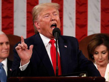 El presidente de Estados Unidos, Donald Trump, este martes, durante su discurso del estado de la Unión.