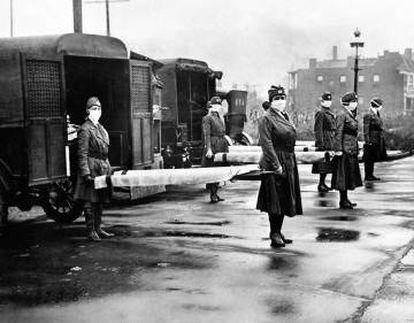 Enfermeras de la Cruz Roja en San Luis (EE UU), en octubre de 1918.