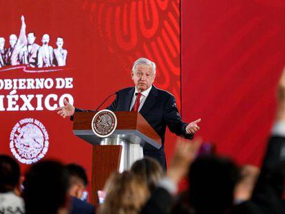 López Obrador, este miércoles, durante su conferencia de prensa diaria.