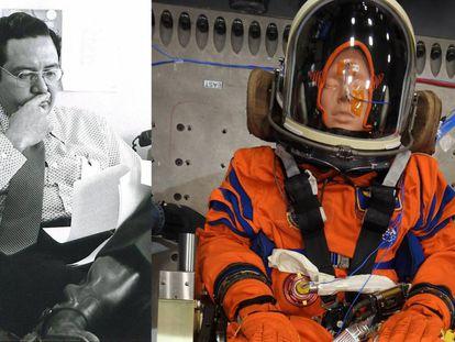Arturo Campos, investigador hispano de la NASA, y un maniquí bautizado en su honor que viajará a la Luna al final de este año.