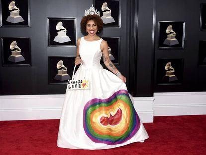 Joy Villa, a su llegada a la gala de los premios Grammy Awards en el Madison Square Garden de Nueva York.
