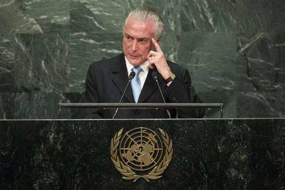 El presidente brasileño, Michel Temer, en su discurso en la ONU
