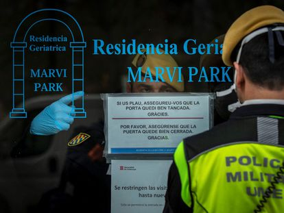 Miembros de la UME realizan tareas de desinfección en el geriátrico Marvin Park, en Barcelona.