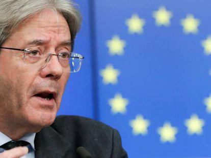 El comisario de Economía, Paolo Gentiloni, durante una rueda de prensa en Bruselas.