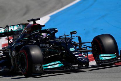 Lewis Hamilton, in his Mercedes this Saturday in Montmeló.