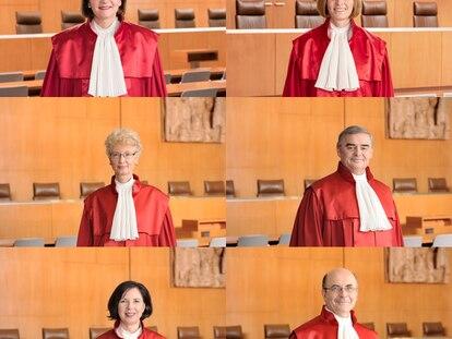 Los ocho magistrados del denominado Segundo Senado, responsable de las sentencias relacionadas con la Unión Europea.