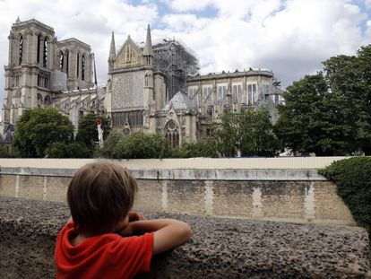 Un niño observa la catedral de Notre Dame .