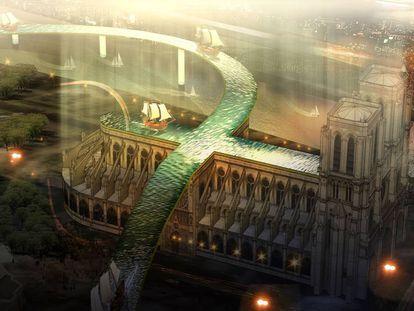 'Flowing Fish', un proyecto del vietnamita Huynh Thanh Nha, que plantea un puente acuático que cruza por encima de la catedral y une el Sena en sus dos costados y que, según la estación del año, puede convertirse en una parasela con distintas actividades para visitar el templo desde arriba. |