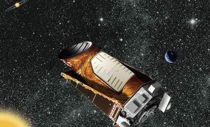 Ilustración del telescopio espacial <i>Kepler</i> y un sistema planetario.