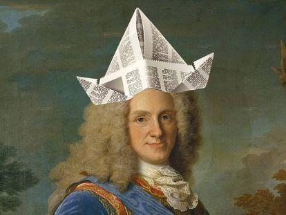 Montaje sobre el retrato de Felipe V que Jean Ranc hizo en 1723. El cuadro original se encuentra en el Museo del Prado de Madrid.