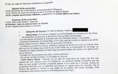 Correo remitido por el inspector de policía que coordina los espectáculos deportivos de A Coruña a la Oficina Nacional del Deporte (del que se han borrado datos personales)