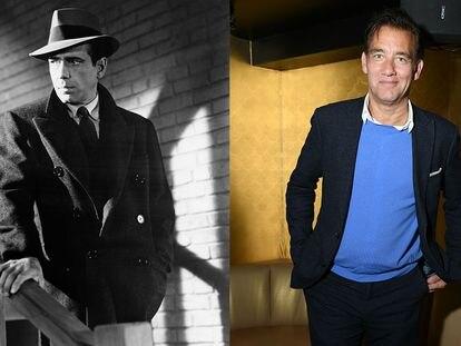 A la izquierda, Humphrey Bogart como Sam Spade en 'El halcón maltés'. A la derecha, Clive Owen, en 2019, que interpretará al detective en una serie.