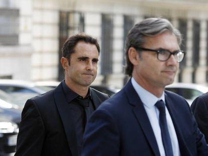 Herve Falciani (izquierda), en 2018, ante la Audiencia Nacional.
