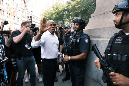New York Democratic mayoral candidate Eric Adams on July 7, 2021, during a tribute to essential workers in Manhattan.