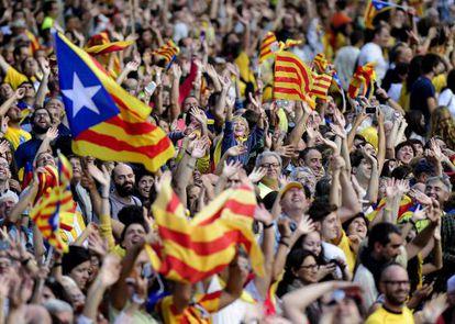 Manifestantes por la independencia de Cataluña, en Barcelona el pasado 11 de septiembre.