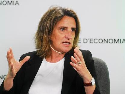 La vicepresidenta cuarta y ministra para la Transición Ecológica del Gobierno, Teresa Ribera el pasado día 16 en una jornada del Cercle d'Economia de Barcelona.  Alberto Paredes / Europa Press   15/04/2020
