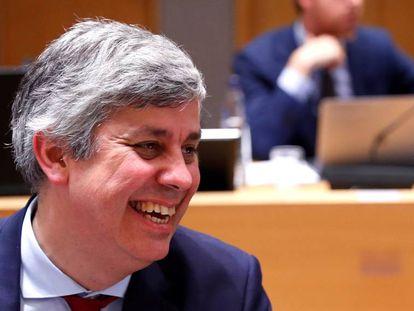 El presidente del Eurogrupo, Mário Centeno, este domingo en Bruselas.