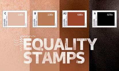 La campaña de Correos 'Equality stamps' con sellos de diferentes colores y diferente valor.