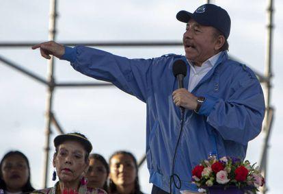 Daniel Ortega y su esposa, la vicepresidenta Rosario Murillo, este miércoles.