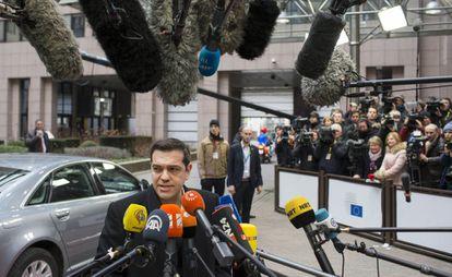 El primer ministro griego, Alexis Tsipras, el jueves en Bruselas.