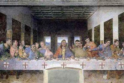 <i>La última cena de Sven,</i> con Beckham como Jesucristo y a su izquierda el seleccionador británico Sven Goran Eriksson, un cuadro de promoción del Mundial.