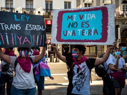 Manifestación de apoyo a la aprobación de la nueva ley trans, en julio pasado en Madrid.