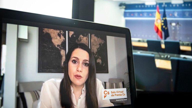 La presidenta de Ciudadanos, Inés Arrimadas, en rueda de prensa telemática. CIUDADANOS