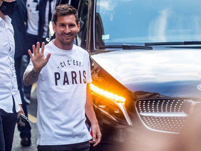 Leo Messi a su llegada a París el pasado martes, después de haber fichado por el PSG.