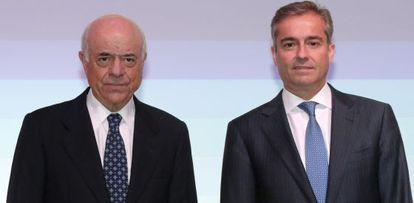 El presidente del BBVA, Francisco González (i) y Ángel Cano.