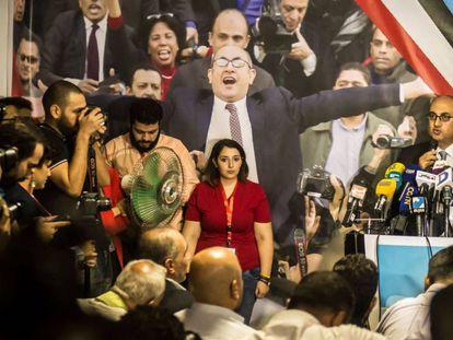 El abogado Jaled Ali en la rueda de prensa de presentación de su candidatura
