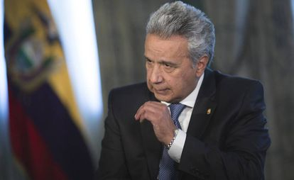 El presidente de la República del Ecuador, Lenín Moreno, durante la entrevista.