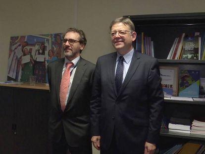 Eugenio Ambrosi, director de la OIM, con el presidente Ximo Puig, en Bruselas.