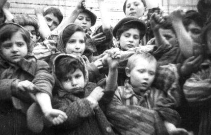 Niños enseñan sus números de presos tatuados, poco después de la liberación de Auschwitz por parte de las tropas soviéticas, en una imagen de autor desconocido.