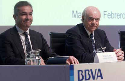 Francisco González, presidente de BBVa y Ángel Cano, consejero delegado