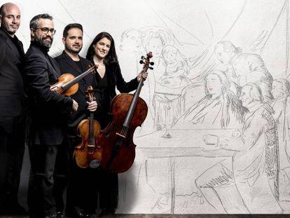 Aitor Hevia (violín), Cibrán Sierra (violín), Josep Puchades (viola) y Helena Poggio (violonchelo) presentarán 'Heritage' el próximo 2 de mayo. En vídeo, el Cuarteto Quiroga interpreta una pieza inédita de Boccherini.
