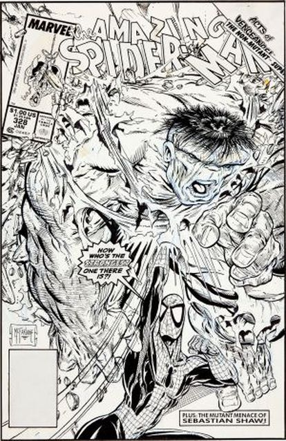 La portada original del número 328 de 'Spiderman', diseñada por Todd McFarlane.